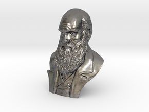 "Charles Darwin 9"" Bust in Polished Nickel Steel"