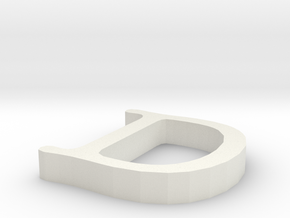 D Letter in White Natural Versatile Plastic