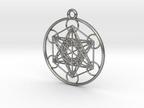 Metatrons Cube Pendant in Natural Silver