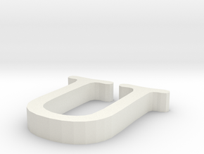 U Letter in White Natural Versatile Plastic