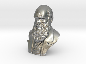 "Charles Darwin 2"" Bust in Natural Silver"