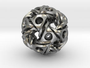 Aztec Ball Pendant 28mm in Natural Silver