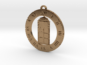 TARDIS (Flat) - Pendant in Natural Brass