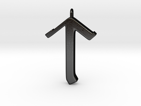 Rune Pendant - Tīr in Matte Black Steel