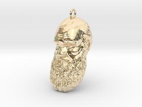 "Charles Darwin 1"" Head, Pendant, Ear Ring, Charm,  in 14K Yellow Gold"