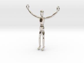 Wooden Doll Pendant  in Platinum