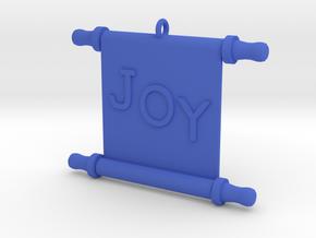 Ornament, Scroll, Joy in Blue Processed Versatile Plastic