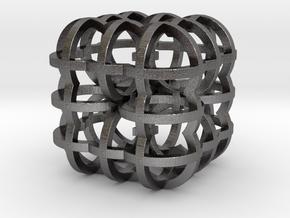 Fractal Cube RB4 30mm in Polished Nickel Steel