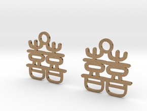 Double Happiness Earrings in Natural Brass