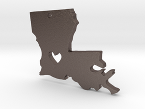 I heart Louisiana Pendant in Polished Bronzed Silver Steel