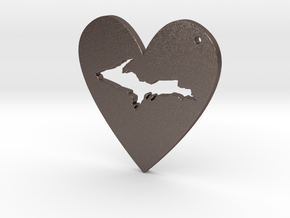I love UP Pendant in Polished Bronzed Silver Steel