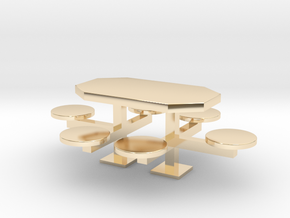 scale 1:24 Picnic Table in 14K Yellow Gold