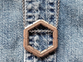 """""""Roughie"""" Geometric Honeycomb Pendant in Polished Bronzed Silver Steel"""