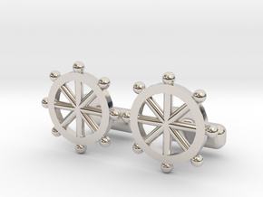 Ship Helm Cufflinks, Part of the NEW Nautical Coll in Platinum