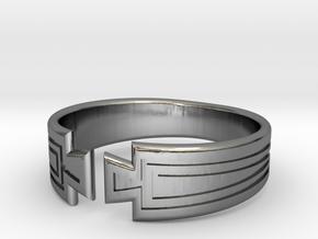 Art Deco Fan Motif Band - Size M in Polished Silver
