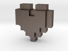 bitc Pixel Heart in Polished Bronzed Silver Steel