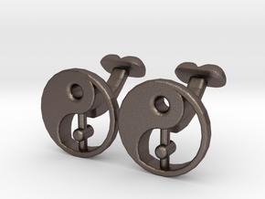 Karma Cufflinks, Part of NEW Spirit Range in Polished Bronzed Silver Steel
