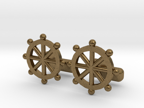 Ship Helm Cufflinks, Part of the NEW Nautical Coll in Natural Bronze