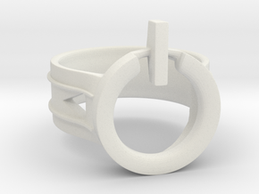 Power Ring Size 8 in White Natural Versatile Plastic
