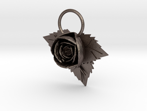 Rose in Polished Bronzed Silver Steel