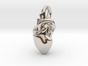 Beautiful Human Heart Pendant in Platinum