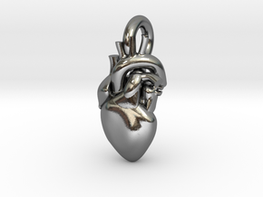 Beautiful Human Heart Pendant in Polished Silver