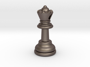 PENDANT : CHESS QUEEN (small - 32.6mm) in Polished Bronzed Silver Steel