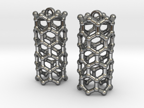 Zig-Zag Carbon Nanotube Chemistry Molecule Earring in Polished Silver