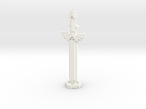 Pixel Art Sword And Stand in White Processed Versatile Plastic