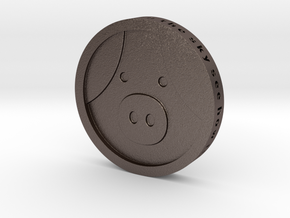 Pig Coin in Polished Bronzed Silver Steel