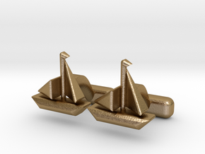 "Ship Cufflinks, Part of ""Nautical"" Collection in Polished Gold Steel"