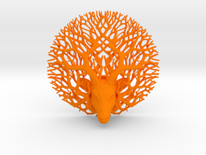 Tree deer stag wall decoration in Orange Strong & Flexible Polished