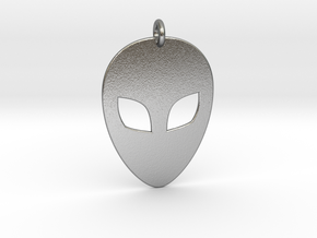 Alien Head Pendant, 1mm Thick. in Natural Silver