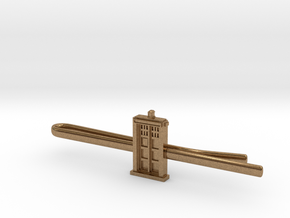 Doctor Who: TARDIS Tie Clip in Natural Brass