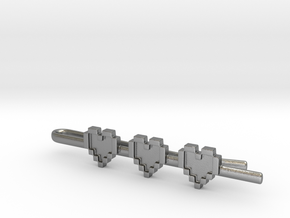 Legend of Zelda: Pixel Heart Tie Clip in Natural Silver