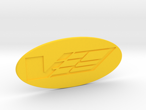 V Logo for the Airaid intake in Yellow Processed Versatile Plastic