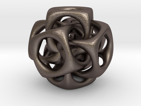Six cubes, pendant  in Polished Bronzed Silver Steel