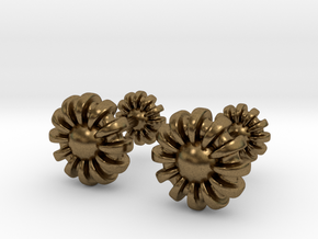 Cufflinks - Flowers in Natural Bronze