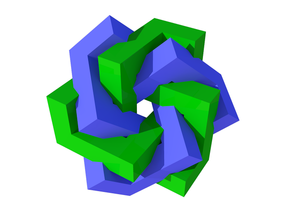 Cubic Trefoil Knot Tangled in Full Color Sandstone