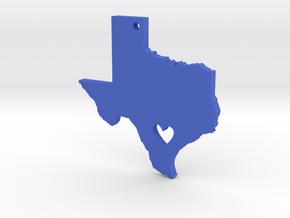 I love Texas Necklace Pendant in Blue Processed Versatile Plastic