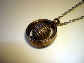 Spinning Top Pendant in Polished Bronzed Silver Steel
