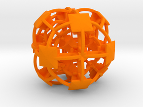 Complex Fractal 50mm V2 in Orange Strong & Flexible Polished