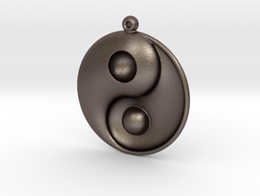 Yin Yang - 6.1 - Earring - Left in Polished Bronzed Silver Steel