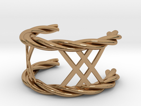 Twisted Lattice Cuff (Men) in Polished Brass