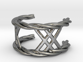 Twisted Lattice Ring (size 13 1/2) in Fine Detail Polished Silver