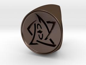 Elder Sign Signet Ring Size 12 in Polished Bronze Steel