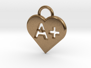 Blood type keychain [customizable] in Natural Brass