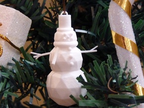 Snowman Ornament in White Natural Versatile Plastic