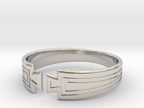 Art Deco Fan Motif Band - Size T in Platinum