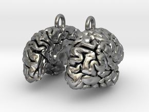 Brain Earrings (Two Hemispheres) in Natural Silver